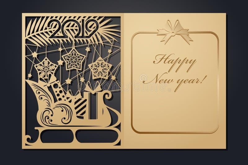 Cartes de Noël de calibre pour la coupe de laser Par l'image de nouvelle année de silhouette Illustration de vecteur illustration libre de droits