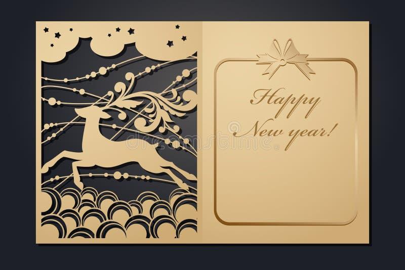 Cartes de Noël de calibre pour la coupe de laser Par l'image de nouvelle année de silhouette Illustration de vecteur illustration stock