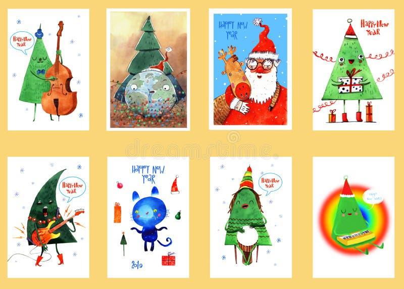 Cartes de Noël d'aquarelle et de nouvelle année, fond, carte postale, en-tête, félicitation, bonne année 2019 L'hiver illustration libre de droits