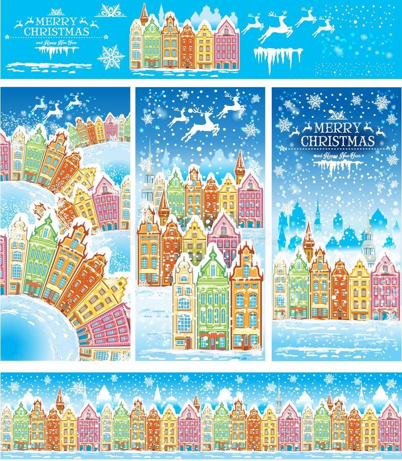 Cartes de Noël d'une vieille ville neigeuse illustration de vecteur