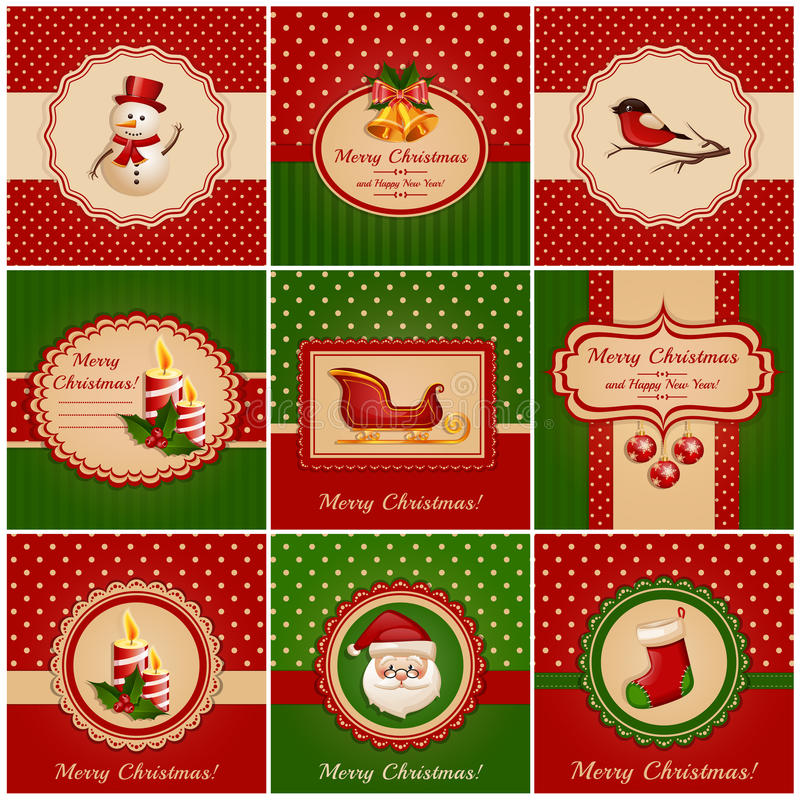 Cartes de Noël. Illustration de vecteur. illustration libre de droits
