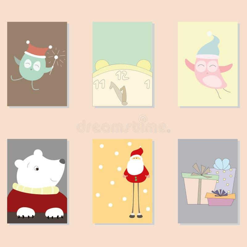 Cartes de Noël mignonnes de vecteur photographie stock libre de droits
