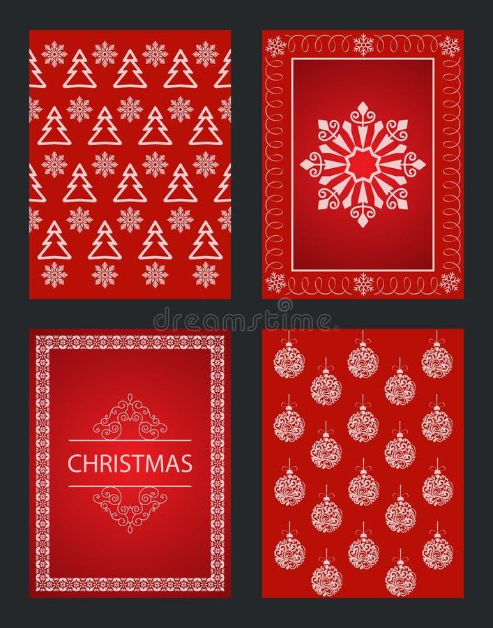 Cartes de Noël rouges avec différents ornements d'hiver illustration libre de droits