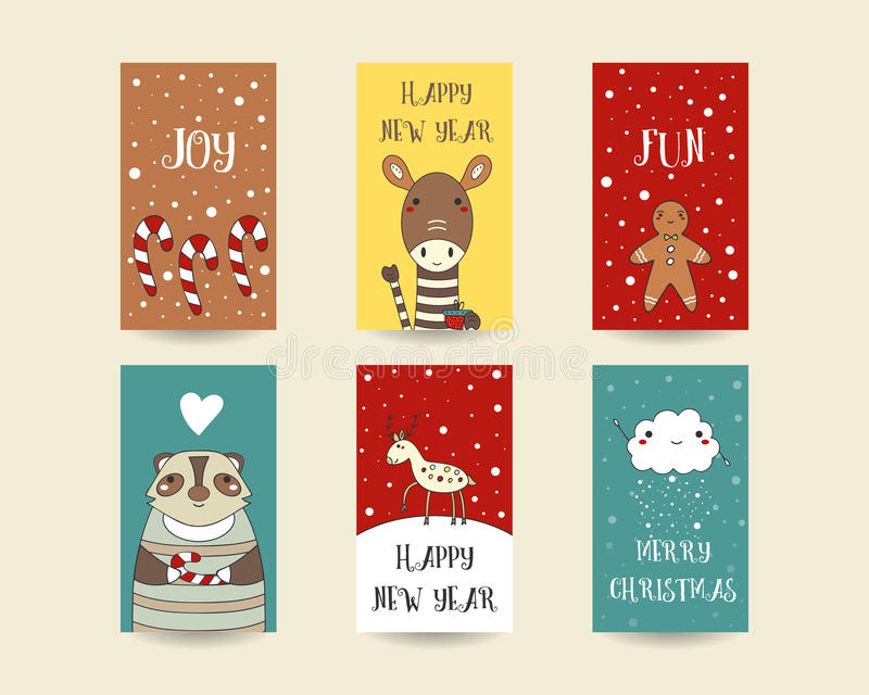 Cartes de Noël tirées par la main mignonnes illustration stock