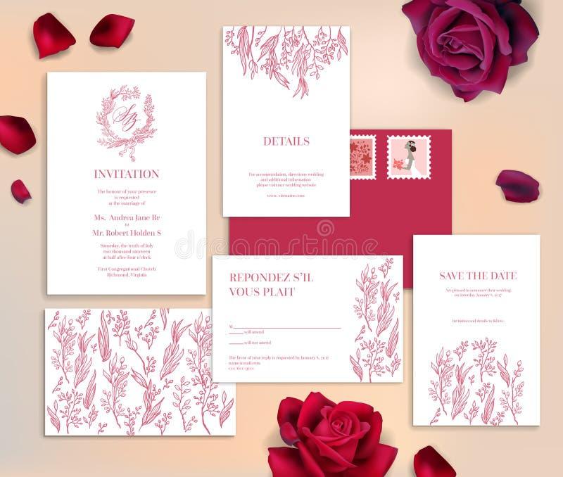 Cartes de papeterie de mariage illustration stock