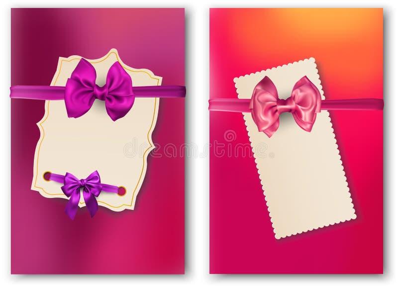 Cartes de papier lumineuses avec le bel arc de satin illustration libre de droits