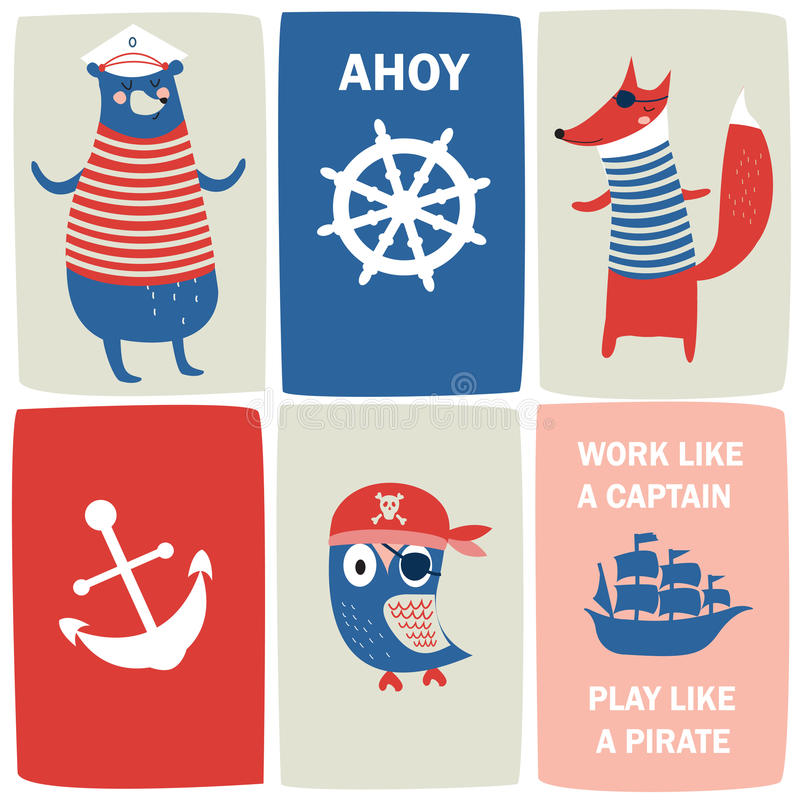 Cartes de pirate illustration libre de droits