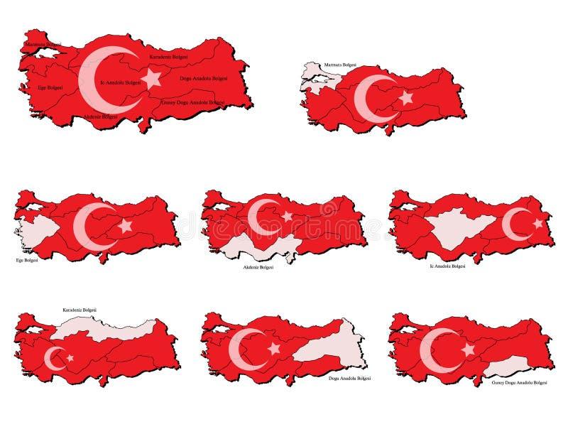 Cartes de provinces de la Turquie illustration de vecteur