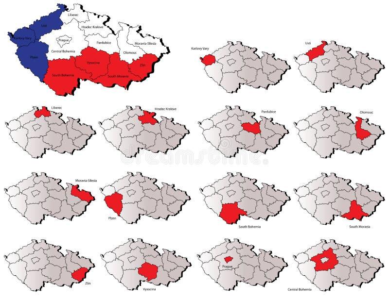 Cartes de provinces de République Tchèque illustration de vecteur