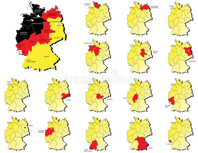 Cartes de provinces du Deutschland illustration de vecteur