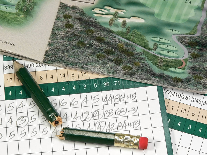 Cartes de score de golf photo libre de droits