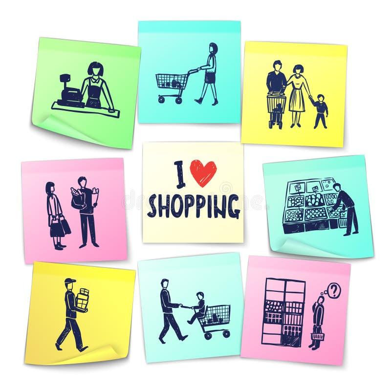 Cartes de supermarché de style de note d'autocollant illustration de vecteur