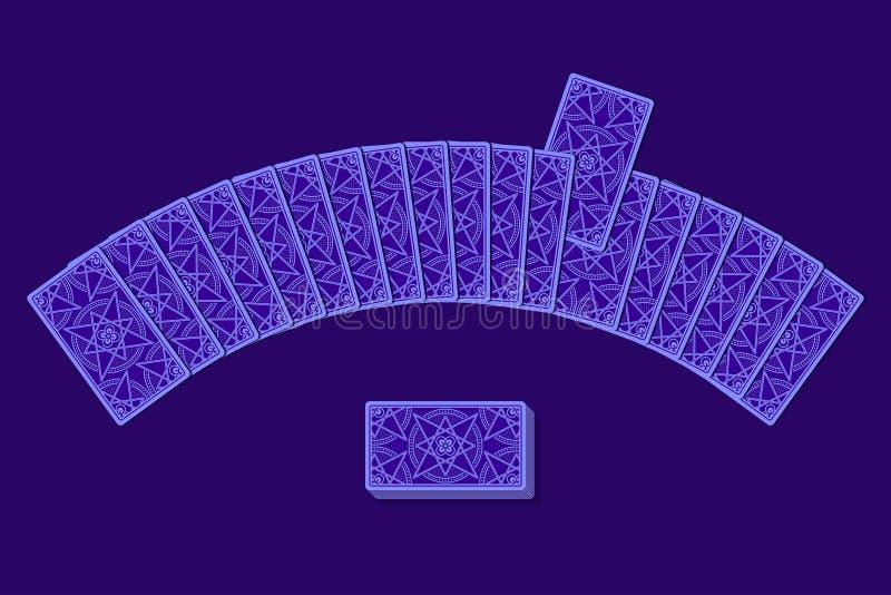 Cartes de tarot par le verso s'étendant dans un demi-cercle illustration libre de droits