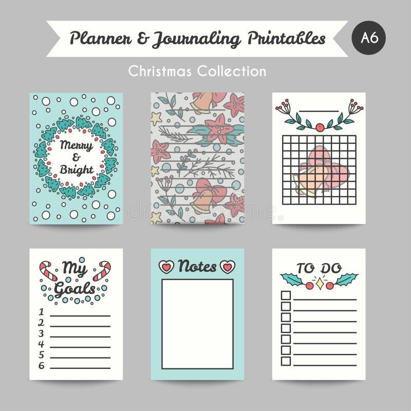 Cartes de tourillonnement imprimables de Noël Ligne pages de Jornal de style illustration stock