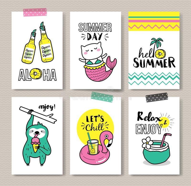 Cartes de vacances d'été illustration libre de droits