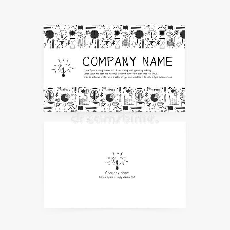 Cartes de visite professionnelle de visite avec les icônes tirées par la main d'affaires de griffonnage pour votre société illustration libre de droits