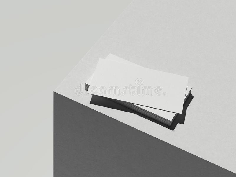 Cartes de visite professionnelle de visite blanches sur le cube blanc, rendu 3d illustration de vecteur