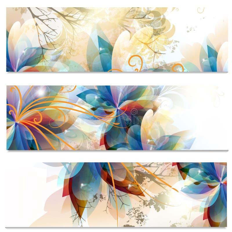 Cartes de visite professionnelle de visite abstraites réglées dans le style floral illustration de vecteur