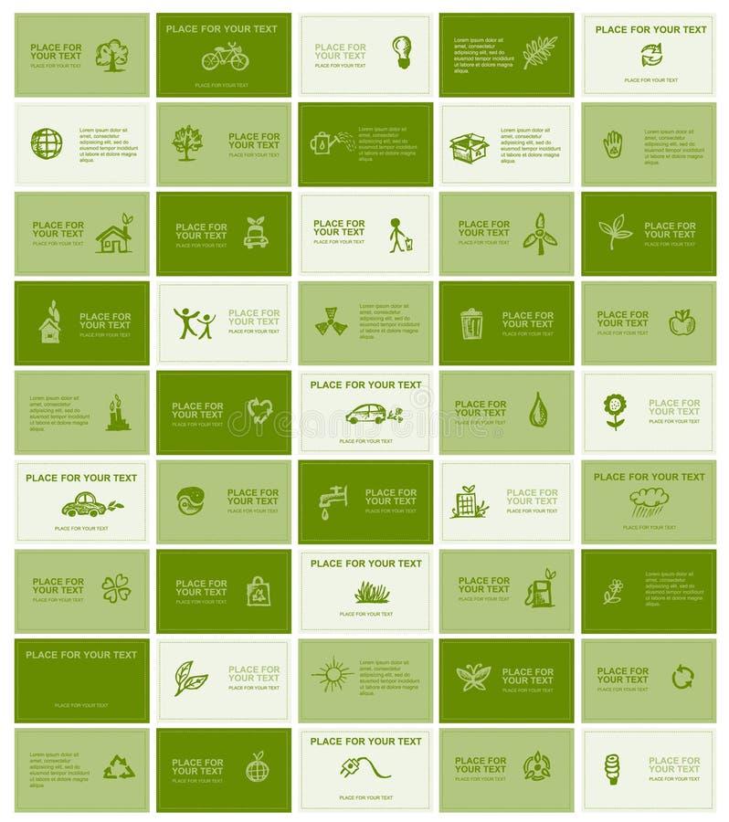 Cartes de visite professionnelle de visite avec des graphismes d'écologie pour votre conception illustration libre de droits