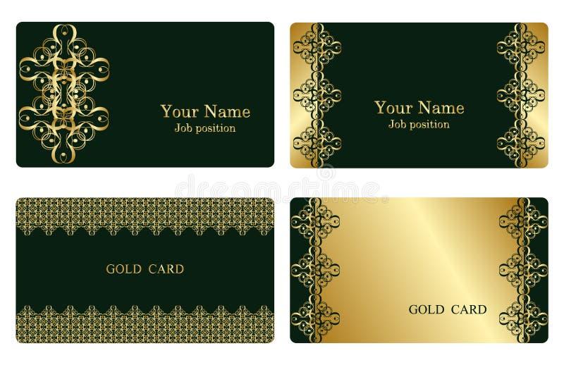 Cartes de visite professionnelle de visite d'or illustration de vecteur
