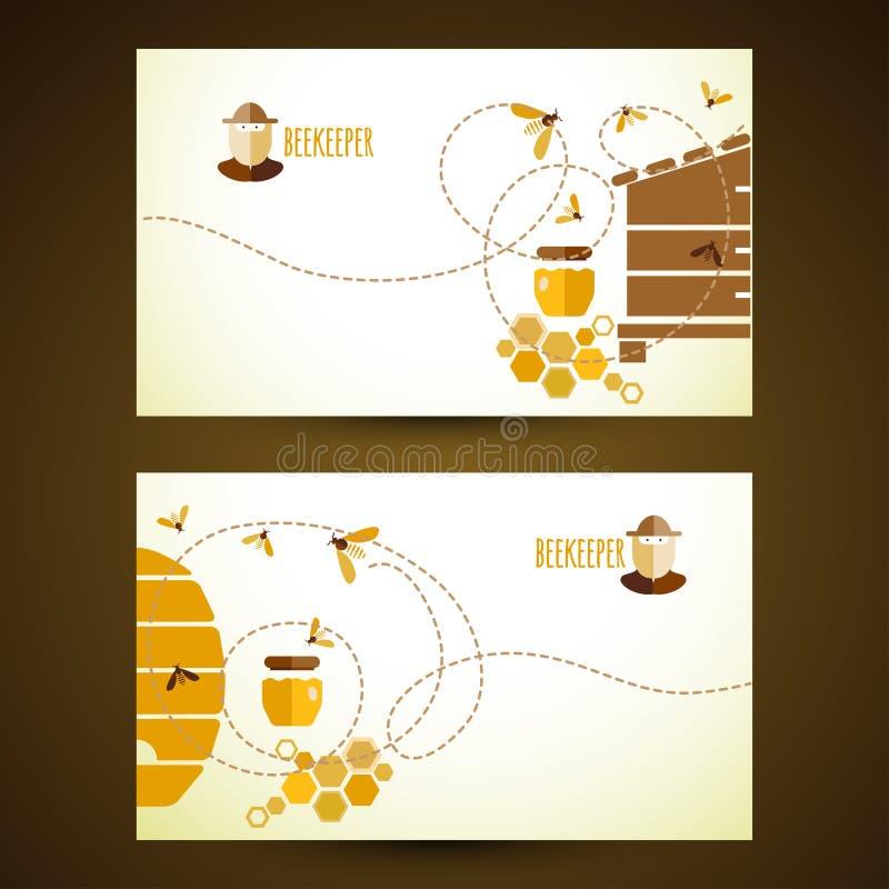 Cartes de visite professionnelle de visite de vecteur avec du miel illustration libre de droits