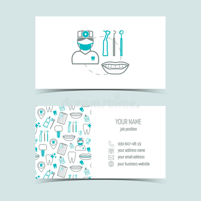 Cartes de visite professionnelle de visite pour la clinique dentaire Produits promotionnels Ligne icônes Conception plate Vecteur illustration de vecteur