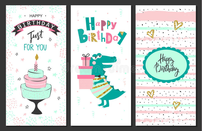 Cartes de voeux de joyeux anniversaire et calibres d'invitation de partie Illustration de vecteur illustration libre de droits