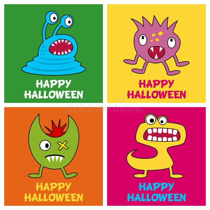 Cartes de voeux de monstres de Halloween [1] illustration libre de droits