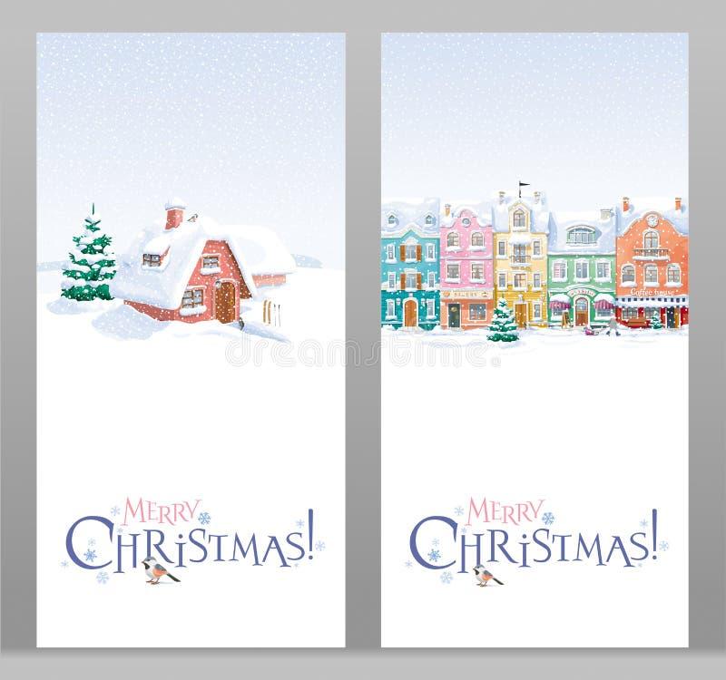 Cartes de voeux de paysage d'hiver et de Noël de paysage urbain réglées illustration stock