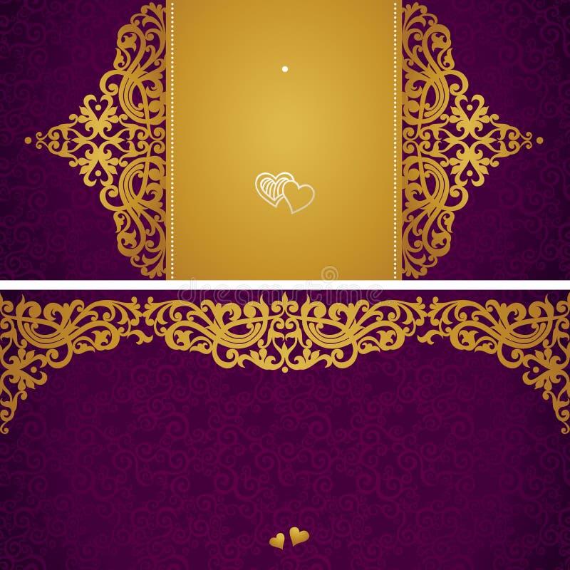 Cartes de voeux de vintage avec des remous et des motifs floraux dans le rétro style. illustration de vecteur