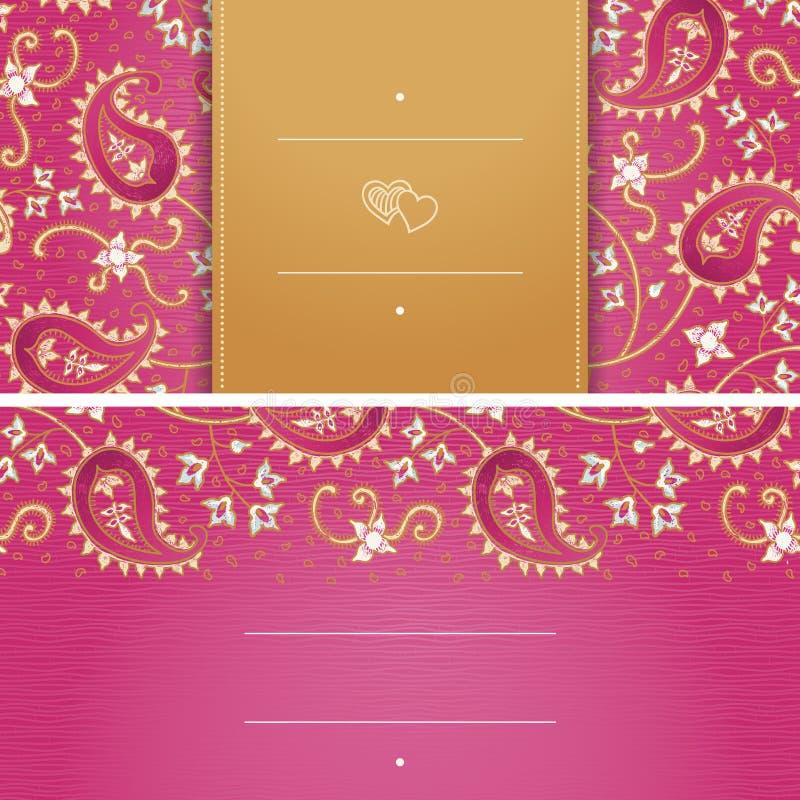 Cartes de voeux de vintage avec des remous et des motifs floraux dans le style est Fond lumineux dans le style persan illustration stock