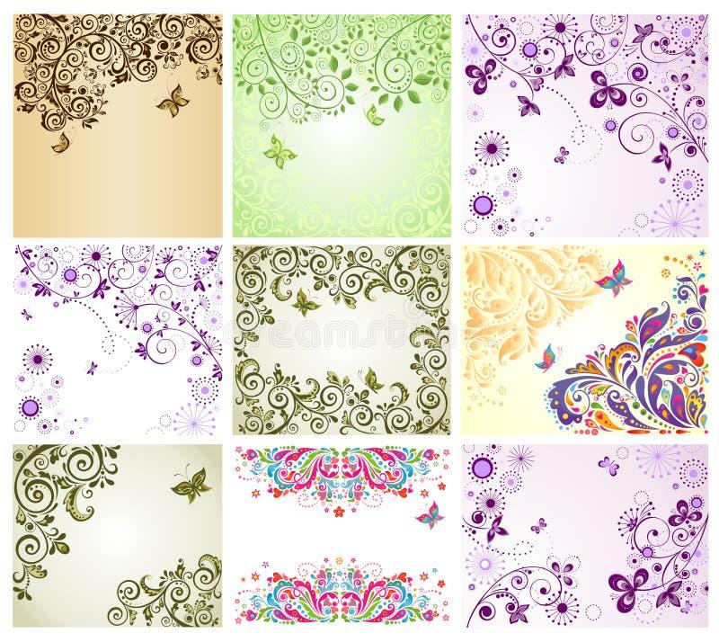 Cartes de voeux florales de vintage illustration stock