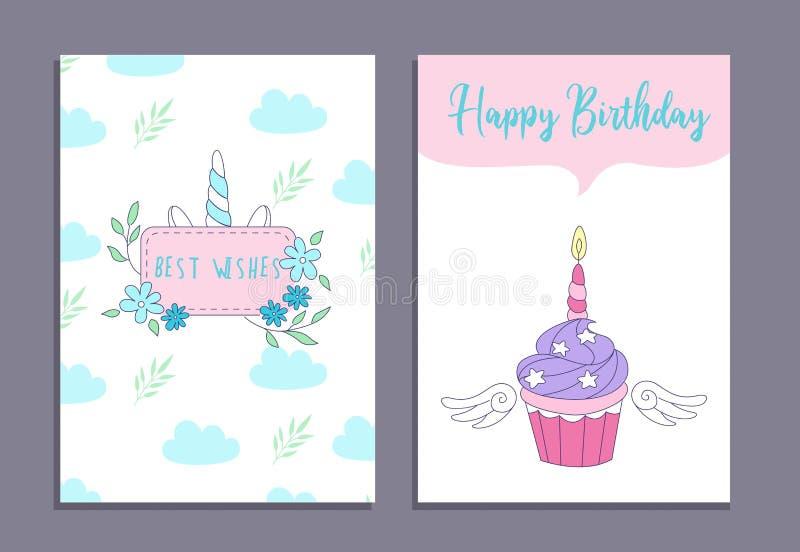 Cartes de voeux de joyeux anniversaire réglées avec le gâteau de licorne et la licorne mignonne illustration libre de droits