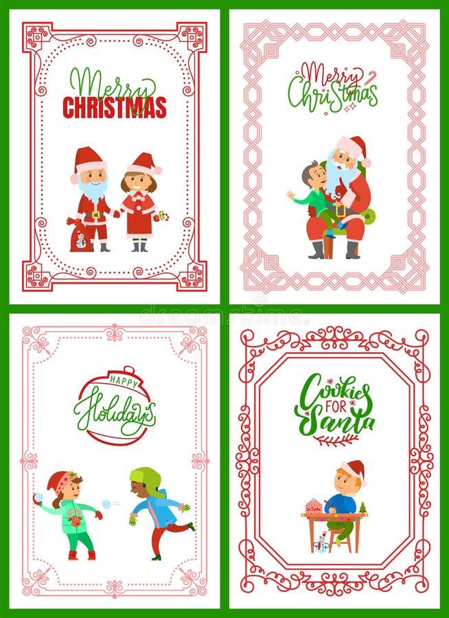 Cartes de voeux de Joyeux Noël avec Santa Claus illustration stock