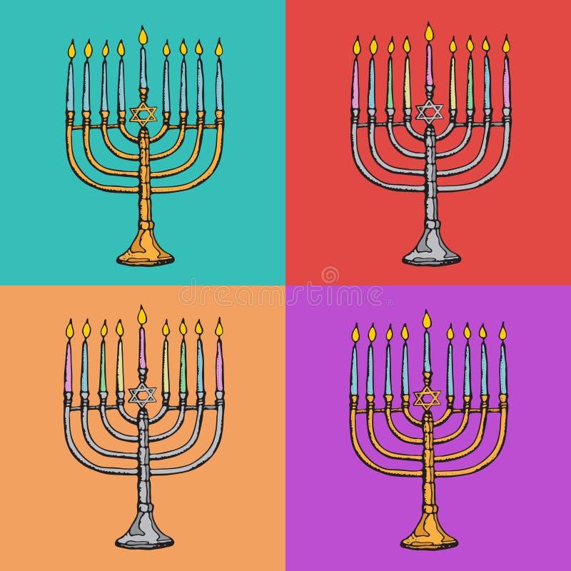 Cartes de voeux juives de Hanoucca de vacances Symboles traditionnels de Hanoukka - bougies de menorah, lumière rougeoyante de Da illustration stock