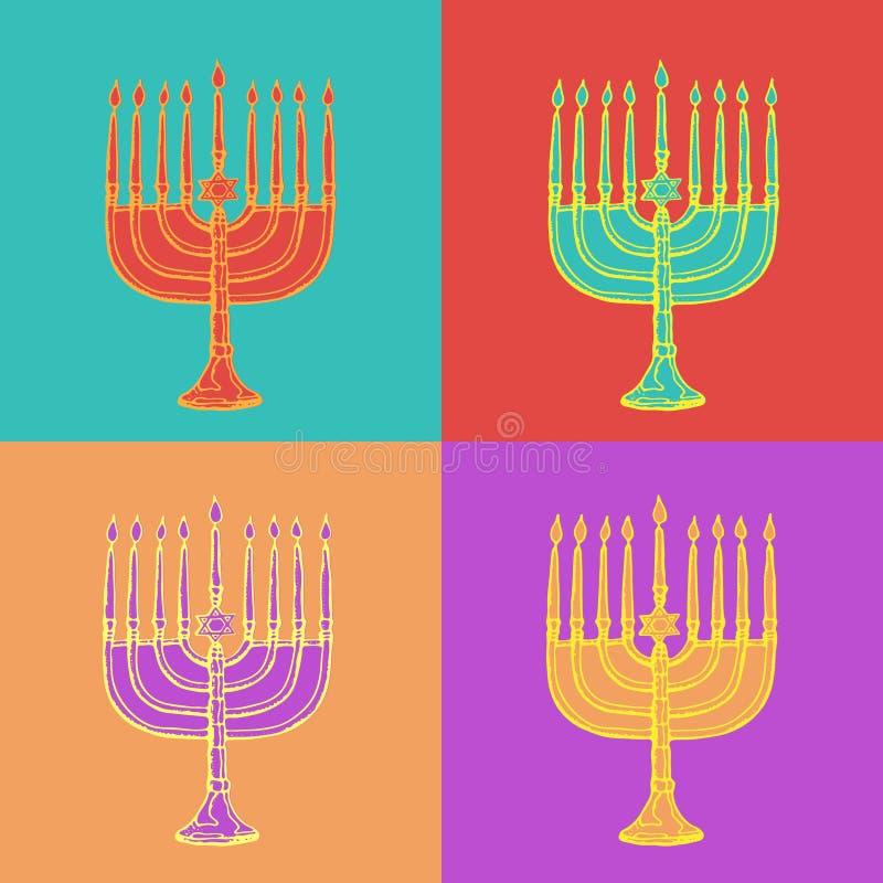 Cartes de voeux juives de Hanoucca de vacances Symboles traditionnels de Hanoukka d'isolement sur le blanc - bougies de menorah,  illustration de vecteur
