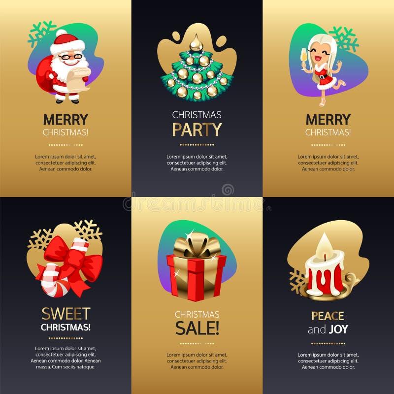 Cartes de voeux de Noël réglées avec de l'or et l'obscurité illustration stock