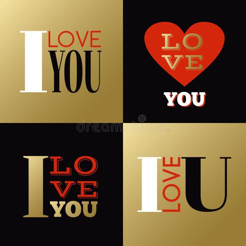Cartes de voeux ou labels de jour de valentines avec illustration libre de droits