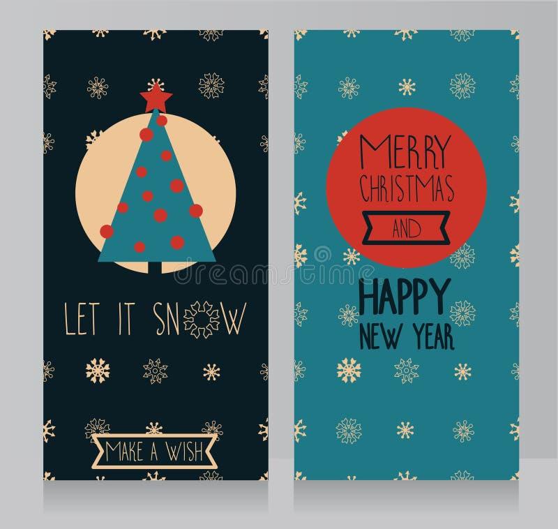 Cartes de voeux pour Noël avec le flocon de neige et l'ornement géométrique de snoflakes illustration stock