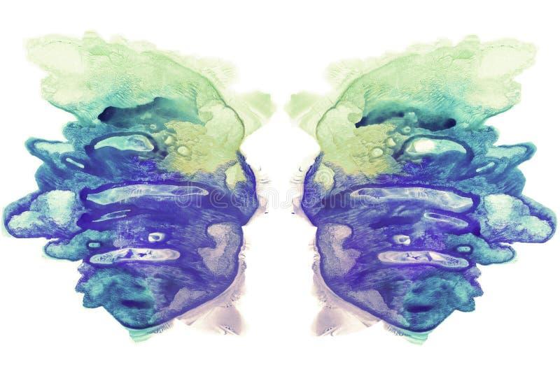 Cartes des ailes d'essai de tache d'encre de rorschach Tache bleue, cyan et jaune d'aquarelle illustration stock