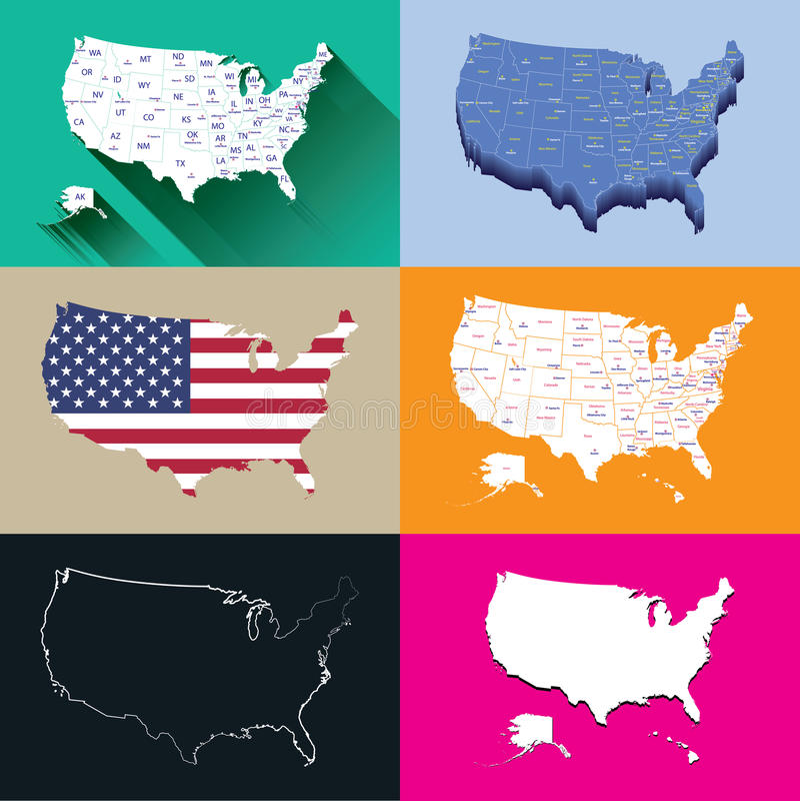Cartes des Etats-Unis illustration de vecteur