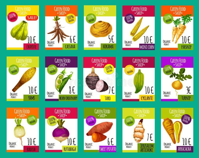 Cartes des prix de vecteur pour les légumes exotiques illustration de vecteur