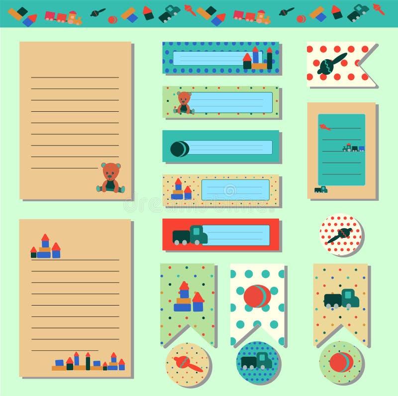 Cartes douces, notes, autocollants, labels, étiquettes avec l'ours de nounours d'illustrations et jouets de bébé dans le rétro st images libres de droits