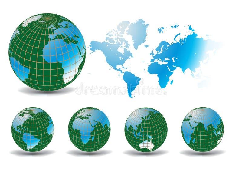 Cartes du monde illustration de vecteur