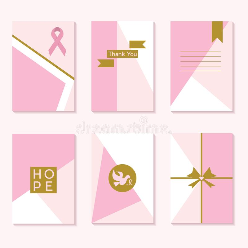 Cartes en liasse à la mode de calibre de milieux de conscience rose mignonne de Cancer illustration de vecteur