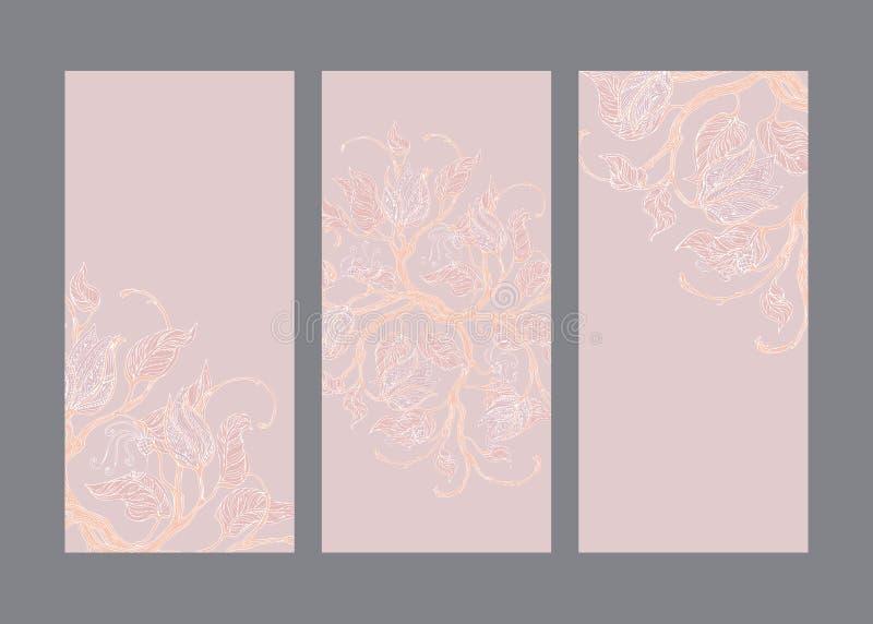 Cartes en liasse avec les ornements floraux de cru crème illustration libre de droits