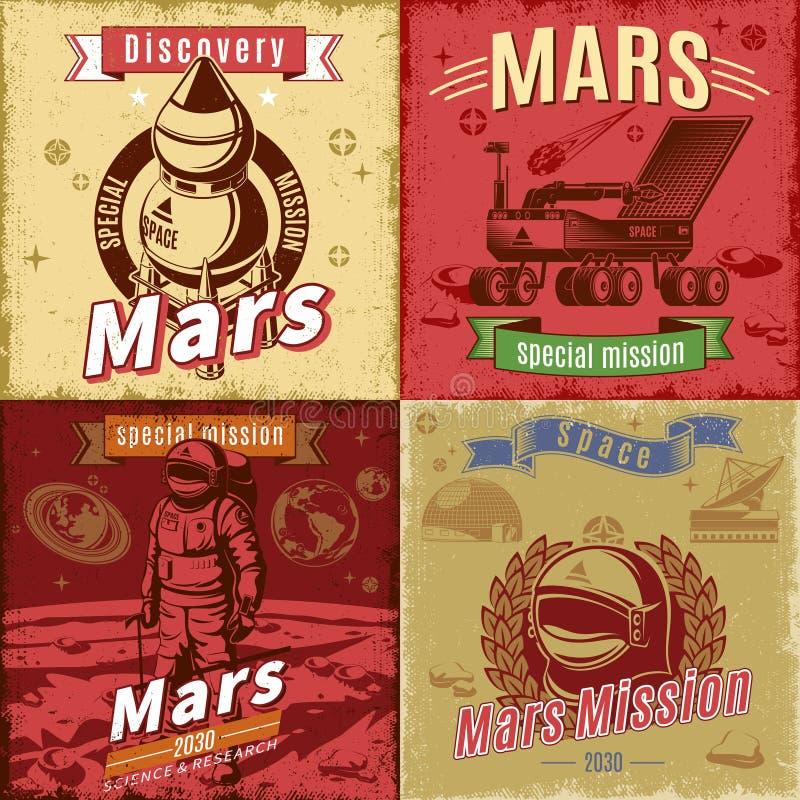 Cartes en liasse colorées par vintage de recherche spatiale illustration de vecteur