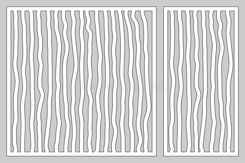 Cartes en liasse décoratives pour couper le laser ou le traceur Ligne panneau de griffonnage de modèle Coupe de laser 1:2 de rapp illustration libre de droits