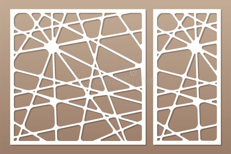 Cartes en liasse décoratives pour couper le laser ou le traceur Ligne panneau géométrique de modèle Coupe de laser 1:2 de rapport illustration de vecteur