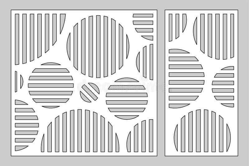Cartes en liasse décoratives pour couper le laser ou le traceur panneau géométrique de modèle de cercle Coupe de laser 1:2 de rap illustration stock
